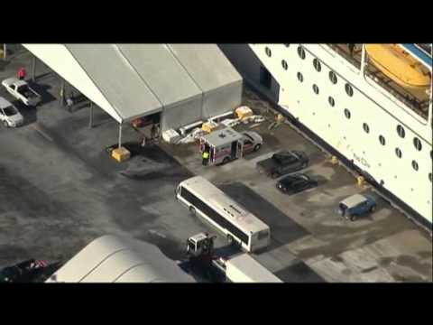 Raw- Cruise Ship Docks in NJ After 700 Fall Ill News Video