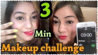 3 Minute Makeup Challenge | Quick Sweat Proof Makeup for Summer - Easy Collage/ Office Makeup