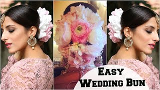 Anushka Sharma Wedding Bun Hairstyle & Bridal Look- Flower Bun Hairstyle Tutorial For Indian Parties