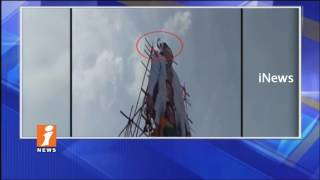 Gangapur Village Sarpanch Protest and Climbs KCR Cutout in Nizamabad | iNews