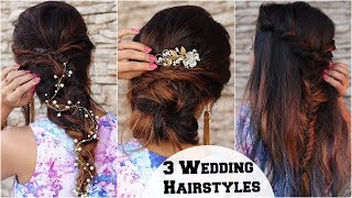 3 ELEGANT Wedding & Cocktail Party Hairstyles / Hairstyles For Indian Wedding Occasions