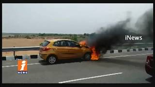 Car Catches Fire In  Jogulamba  | Gadwal | iNews