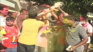 Karimnagar MLA Gangula Kamalakar Celebrates Holi Festival | Telangana | iNews