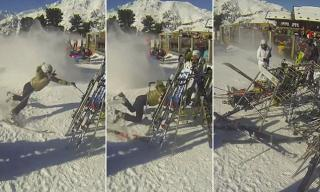 Hilarious Moment Skier Ploughs Into a Rack of Skis After Coming in For Lunch Too Quickly