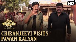 Chiranjeevi visits Pawan Kalyan on the sets of Sardaar Gabbar Singh