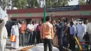 National Flag Fall down Metpally Telangana Formation Day Celebrations | Jagtial | iNews