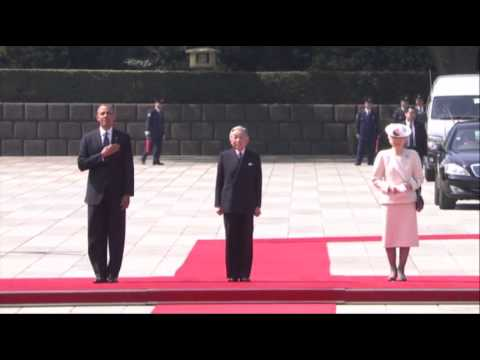 Raw-  Pres. Obama Visits Japan's Imperial Palace News Video