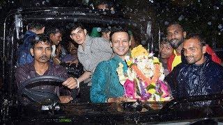 Vivek Oberoi's Ganesh Visarjan In Mumbai Heavy Rain