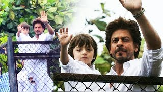 Shahrukh Khan With Son AbRam Waves To FANS At Mannat - Eid 2017