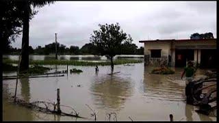 गावों में घुसा पानी, सैकड़ों बीघा फसल बर्बाद