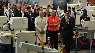 PM Modi & German Chancellor Angela Merkel at Bosch Factory in Bengaluru 2015