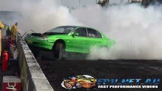 V8 COMMODORE HITS THE WALL AND CATCHES FIRE AT BURNOUT MANIA SYDNEY DRAGWAY