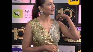 Gauahar Khan in gold gown at  Gold Awards 2017