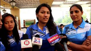 Sukhwinder Singh felicitates players of the Indian Women's Hockey team