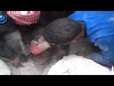 Raw- Baby Rescued From Rubble in Syria News Video