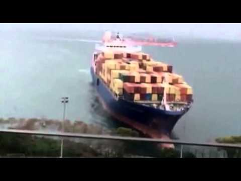 Raw- German Container Ship Runs Aground News Video