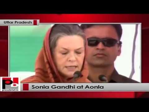 Sonia Gandhi's public rally in Aonla, (Uttar Pradesh)