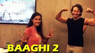 Tiger Shroff And Disha Patani Showing Baaghi 2 Poster - Watch Video