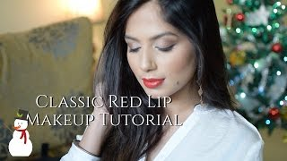 Classic Red Lip Makeup l Christmas Makeup Tutorial