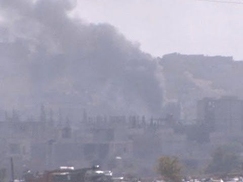 Raw- Smoke Rises Over Syrian Border Town News Video