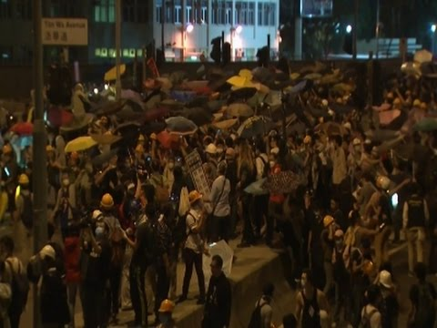 Raw- Police Face Down Students in Hong Kong News Video