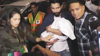 Shahid Kapoor With Baby Misha & Mira Rajput LEAVES For IIFA 2017, SPOTTED At Airport