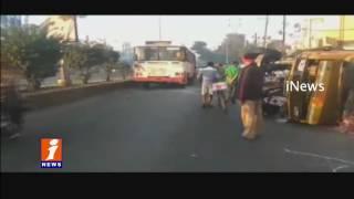 Milk Van Over Turn At Santoshnagar | Driver Injured | Hyderabad | iNews