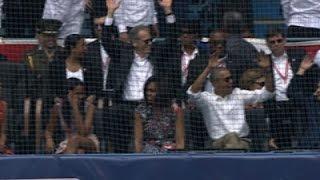 Raw- Obama & Castro Catch Baseball Game News Video