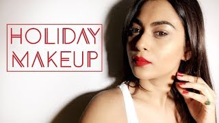 HOLIDAY MAKEUP TUTORIAL | RED LIP | MOSTLY AFFORDABLE MAKEUP