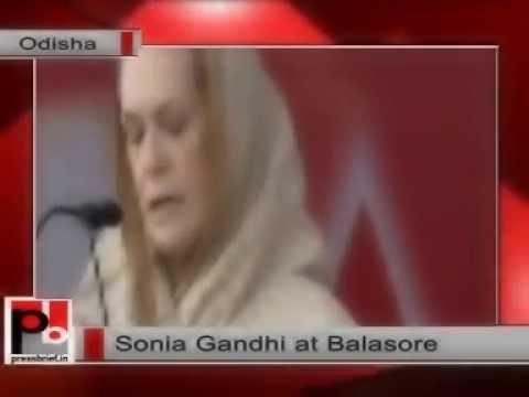 Sonia Gandhi addresses an election rally in Balasore (Odisha)