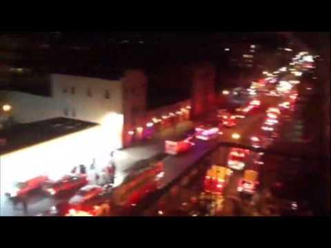 Raw: New York Firefighters Face Four-alarm Blaze News Video
