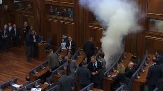 Raw: Tear Gas Fired In Kosovo Parliament