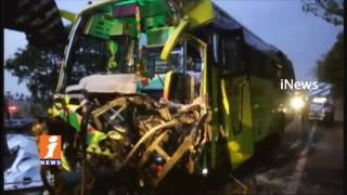 Private Travel Bus Hits Lorry In West Godavari   One Dead & Several Injured   iNews