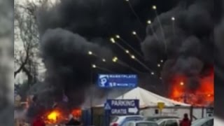 Raw- Fireworks Explode in Polish Market Fire News Video