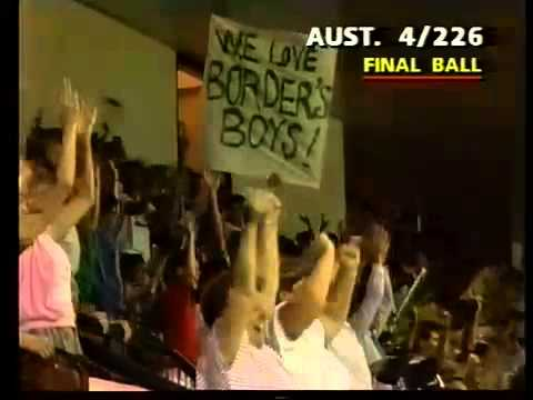 AWESOME Steve Waugh SIX OVER COVER off CURTLY AMBROSE near yorker 1989 - Cricket Classic Video