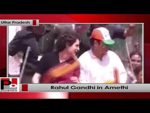 Rahul Gandhi with Priyanka Gandhi during a roadshow in Amethi