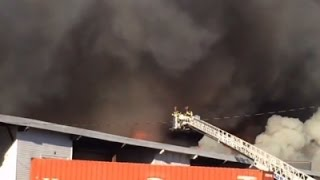 Raw - NJ Warehouse Fire Burning Out of Control News Video