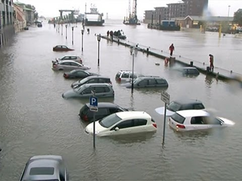 Raw- Germany Storm Surge Submerges Cars News Video