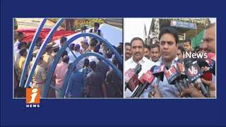 Minister KTR Inspects Miyapur Metro Rail Station Inauguration Works | Hyderabad | iNews