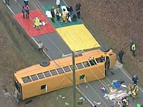 Raw- Bus on Side After Crash in North Carolina News Video