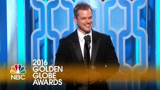 Matt Damon Wins Best Actor in a Comedy at the 2016 Golden Globes