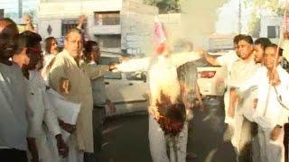 पानीपत में तंवर समर्थकों ने फूंका हुड्डा का पुतला
