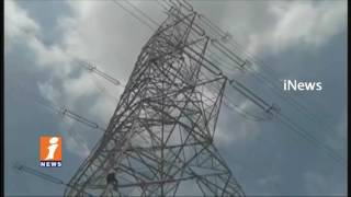 Farmers Climbs High Tension line Tower For Compensated In Sangareddy | iNews