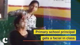 School principal Gets a Facial in Class