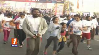 KTR,Ram Charan and Sania Mirza Participated 10k Run in Necklace Road | iNews